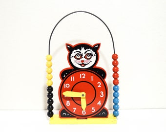 Vintage Brio Cat Clock Abacus Toy Mid Century Movable 1960s