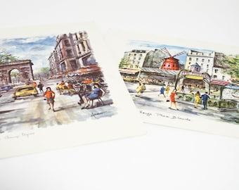 Vintage Paris Prints by Arno French Decor Watercolor Lithographs