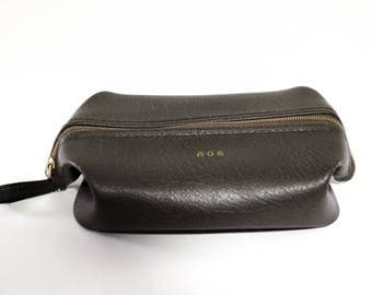 Vintage Brown Leather Dopp Kit Mens Grooming Travel Bag 1960s