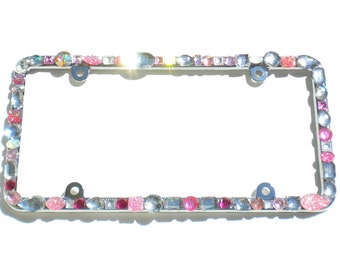 Chunky Jewel Custom Mix Pinks with AB and Clear Crystal Rhinestone License Plate Frame (4 Screw Holes) Diamond Bling Sparkle Bedazzle