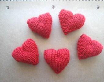 Red Pocket Hearts, Plush Amigurumi Hearts, Handful of Hearts, Sweet Hearts, Set of 5 Knit Hearts, Cute Kawaii