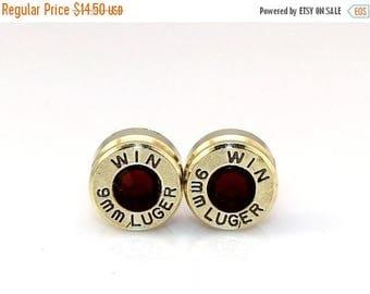 30% OFF SALE Bullet Earrings. January Birthstone Garnet .9mm Luger