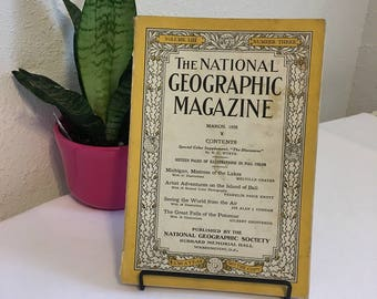 Vintage Magazine, March 1928, National Geographic, free shipping US & Canada