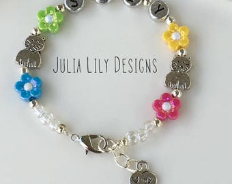 Personalized Bracelet Name for Girls, Women, Pet Cat Lover, Memorial Token, I love my Cat Charm, Gift Boxed