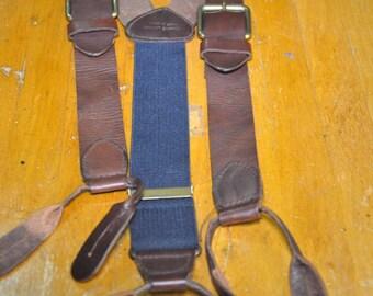 Adjustable Brown Leather Susspenders