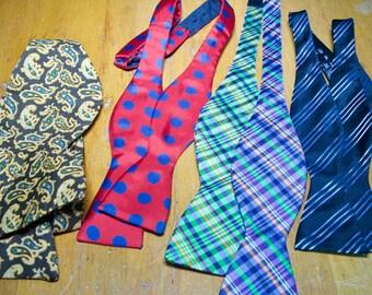 Vintage Set Of 40 Silk Bow Ties