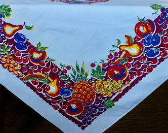 Vintage Linen Tablecloth Bright Fruit Printed Burgundy Yellow Orange Square