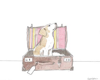 Puppy in a Suitcase Art Print