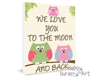 Toddler room decor girl, Baby Room Art Poster, Owls Nursery Artwork, We love you to the moon, Baby boy room decoration, babyboy bedroom art