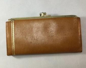 Vintage Brown Leather Renwick Wallet, Womans Pocketbook