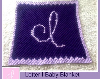 Letter I Baby Afghan, C2C Graph, Crochet Pattern