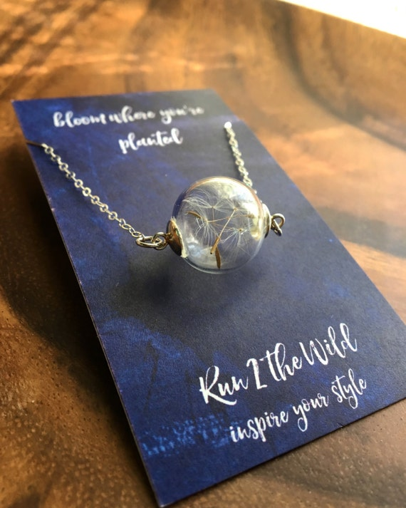 MAKE A WISH : 14 kt gold or sterling silver filled wish dandelion seed necklace