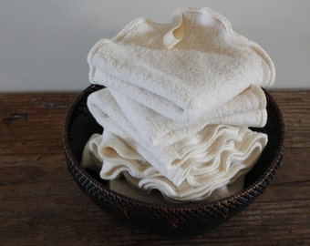 100% Organic Natural Sherpa Washcloth, Dish Cloth, Set of 2, Available in Two Sizes