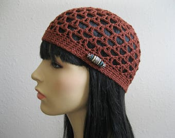 Crochet Beanie -  Henna Summer Beanie - Juliet Beanie -Crochet Beanie Hat - Beanies - Crocheted Beanies - Beanie Hats - Juliet Cap -Skullcap
