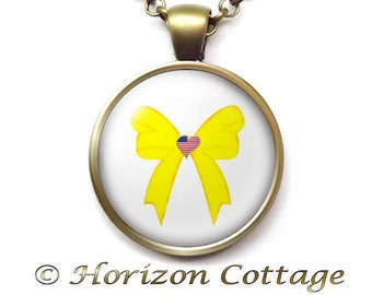 Yellow Ribbon Necklace, Deployed Military Jewelry, Love My Deployed Military, Support Our Troops, Antique Brass or Antique Silver