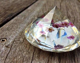 Miniature Purple Flowers Preserved in Clear Casting Resin, enclosed within Crystal Structure