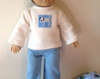 American Girl 18 inch Logan boy doll pajamas in blue and cream with doggie design