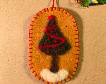 Lovely Christmas Tree Needle Felted On Mustard Felt