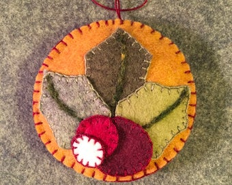 Lovely Holly And Berries Applique On Mustard Felt Christmas Ornament