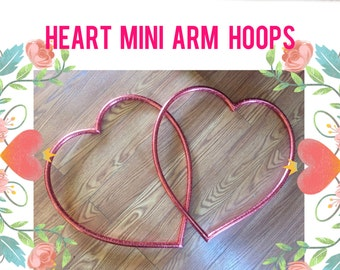 Heart Mini Arm Hoops - Pair of two 2 untaped or taped Poi double hula hoops valentine's day heart-shaped