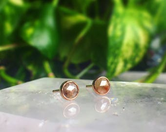 Solid 14k Rose Gold & Red-Grey Diamond Studs