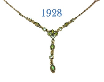1928 necklace, green glass navettes, clear rhinestones, Y necklace silver, silver tone chain, signed tag, link chain, extender