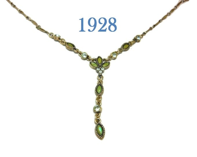 FREE SHIPPING 1928 necklace, green glass navettes, clear rhinestones, Y necklace silver, silver tone chain, signed tag, link chain, extender