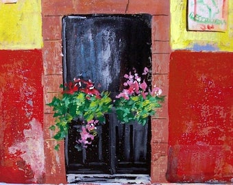 "Original painting of door  with flowers in San Miguel de Allende Mexican town original art acrylic on board 11 ""x 14"""