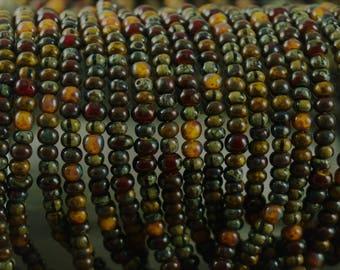 6/0 Fancy Tribal Heavy Picasso Multi Striped Mix Glass Beads