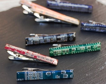 Circuit board Tie bar - geek mens gift, groomsmen tie clips, tie holder, gift for husband, tie bar - palladium plated, resin