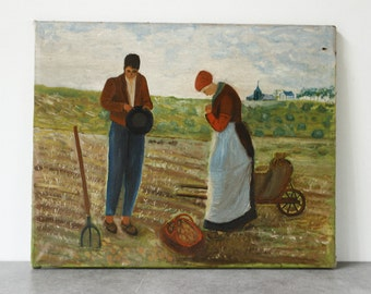 """French Artwork, Oil on Canvas 18"""" x 14.5""""...Peasants Harvesting...not signed"""
