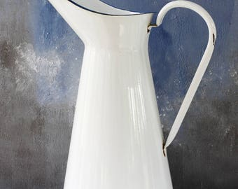 """Vintage French Enamel Pitcher...White with Blue Rim...LARGE height 15.1/2""""....Shabby Chic...Rustic Kitchen....Nordic Style"""