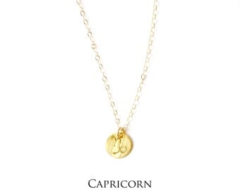 CAPRICORN Zodiac Charm Necklace- Hand stamped- 14k gold filled, Sterling Silver