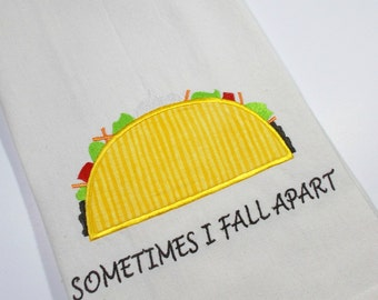 Taco Towel -Taco Tuesday - Foodie Towel - 10 dollar gift - Tacos - Sarcastic Taco Quote - Funny Taco - Embroidered Towel -  Funny Taco Towel
