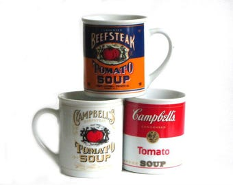 Campbell's Collectible Soup Mugs 125th Anniversary Edition Set of Three Cups Tomato Graphics Soup Lover's Gift