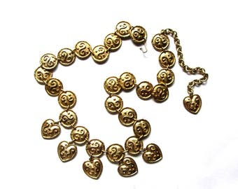 Edouard Rambaud Coins and Heart Charms Necklace or Runway Medallion Belt Gold Tone Metal Etruscan Revival Baroque Signed Rare Designer Piece
