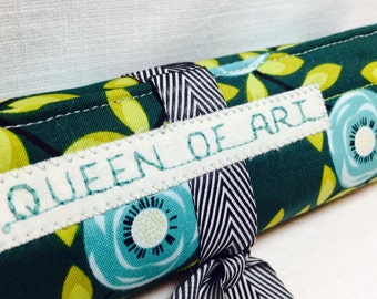 Green floral Pencil roll up pouch - faith booking- Adult coloring - Jesus based gift - colored pencil roll - Bible journaling - organizer