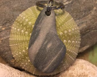 Beach stone jewelry- beach stone keychain