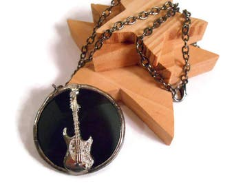 Guitar Necklace Black Glass Necklace Stained Glass Jewelry Handmade Necklace Glass Metal Jewelry Round Necklace Jewlery Music Pendant Guitar