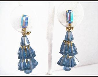 Blue Lucite  Cha Cha Earrings - AB Rhinestone Lobe - Clip Ons