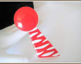 60's Retro Red Lucite Brooch - Mod Atomic Striped - 60's Brooch