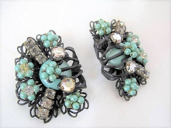 Aqua Bead Earrings - Clear  Rhinestones - Black Japanned Setting- Clip Ons