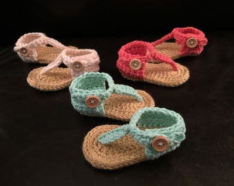 Crocheted Baby Girl Sandals