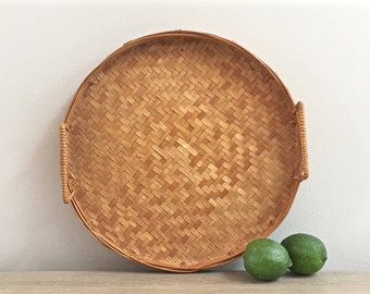 Vintage Woven Rattan Tray Round Bamboo Basket Decorative Tray Boho Decor