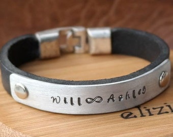 EXPRESS SHIPPING, Custom Men Jewelry, Mens Personalized Leather Bracelet, Mens Bracelet, Personalized, Infinity Bracelet, Anniversary Gift