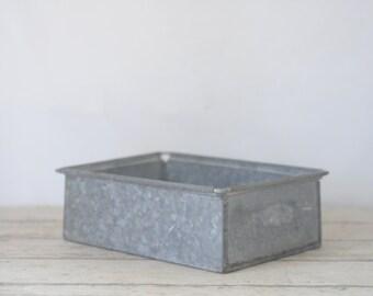 Vintage Industrial Metal Storage Bin Box Tote Drawer Industrial Decor Storage