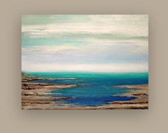 """Art, Large Painting, Original Abstract, Acrylic Paintings on Canvas by Ora Birenbaum Titled: Deep Tide 36x48x1.5"""""""