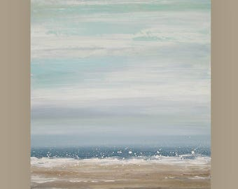 Seascape, Art, Abstract, Original Painting, Acrylic Abstract Art, Shabby Chic on Canvas by Ora Birenbaum, Blue Sky 2 24x30x1.5""