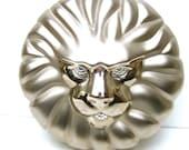 Opulent Silver Metal Lion Evening Bag