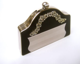 Opulent Crystal Silver Metal Evening Bag Compact by Volupe